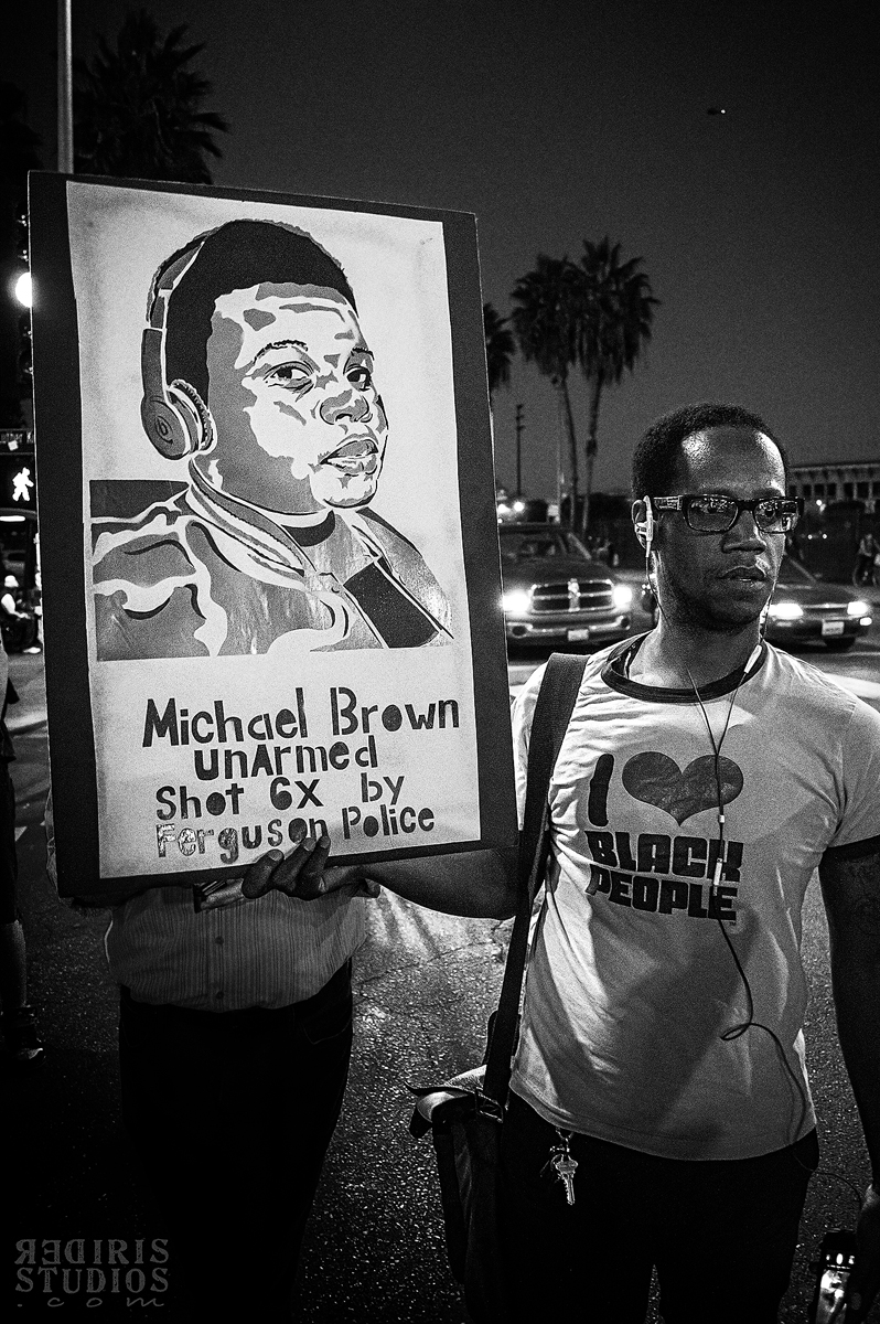 Street Portrait - Unarmend Mike Brown Shot 6 Times  - Protest in  L.A. 11-25-14
